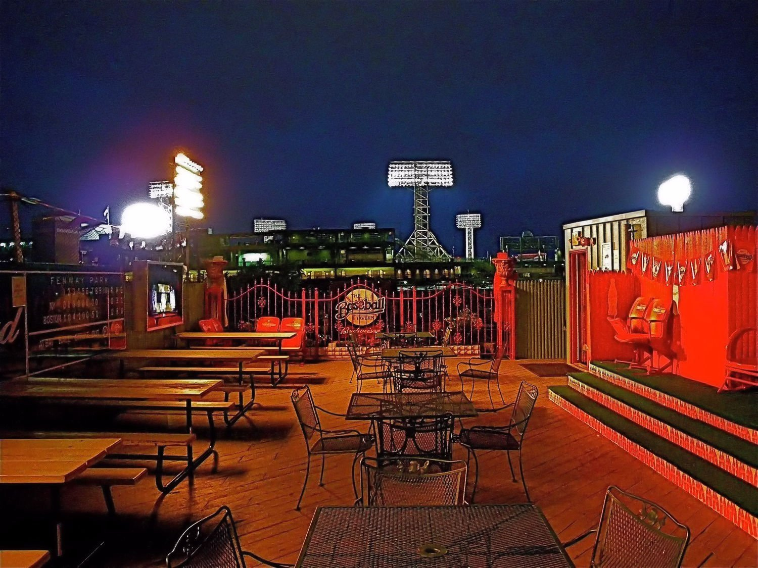 Nighttime photo of the outside patio at the Baseball Tavern, a great eatery and watering hole just minutes from historic Fenway Park.