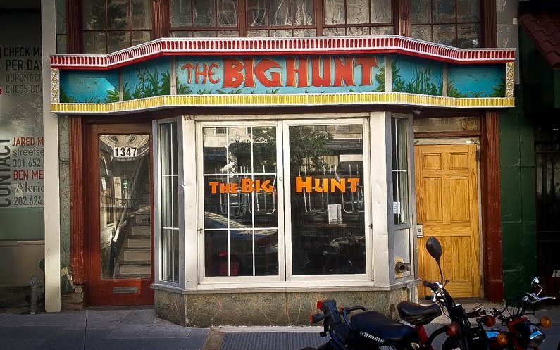 Exterior photo of the Big Hunt—a very popular old dive bar on Connecticut Avenue in Washington D.C.
