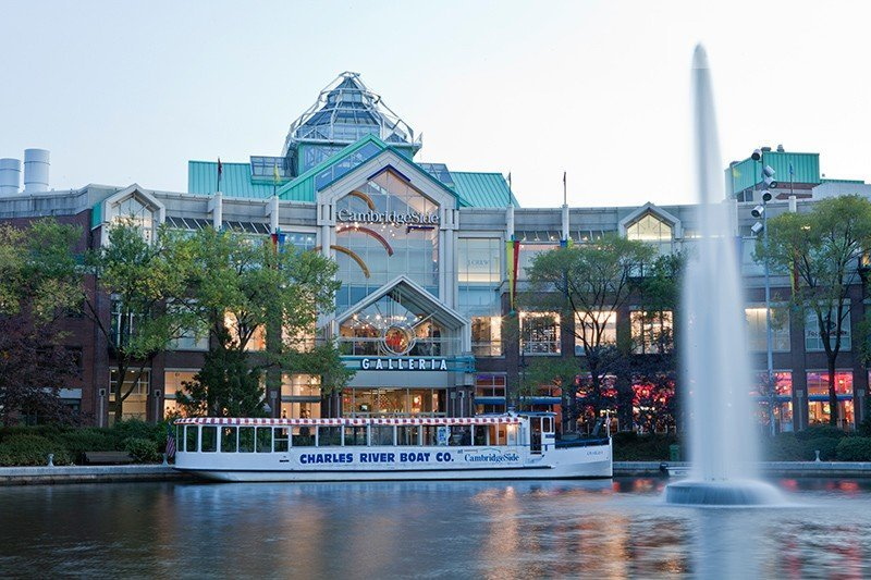 A photo across the waterway of the CambridgeSide Galleria. The CambridgeSide Galleria is a mall located in Cambridge, Massachusetts, that opened in 1990.