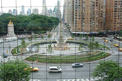 View of Columbus Circle, looking east at Central Park South from inside the Time Warner Center