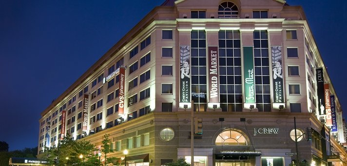 Exterior of the Embassy Suites at the Chevy Chase Pavilion in Washington D.C.