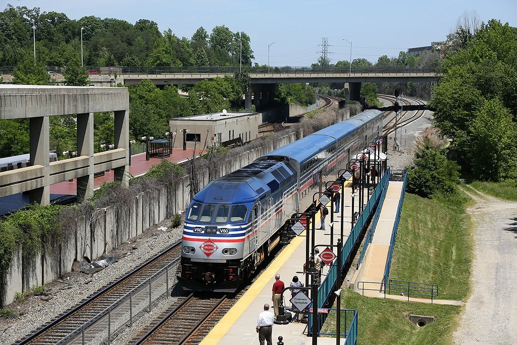 Photo of people waiting to enter the train at Franconia-Springfield Station. Franconia–Springfield is an island platformed Washington Metro station in Springfield, Virginia, United States. The station was opened on June 29, 1997, and is operated by the Washington Metropolitan Area Transit Authority (WMATA). Providing service for the Blue Line, it is the southwestern terminus of the Blue Line, and is located at the junction of Franconia-Springfield Parkway and Frontier Drive. The station serves a suburban area and is mostly used for commuters, with 5,069 spaces – Metro's largest parking garage. It is a major transit hub, providing not only Metro service, but also Virginia Railway Express, Metrobus, and local and intercity bus service, including Greyhound buses. It also served as an Amtrak station for the Northeast Regional line between 2003 and 2010. Amtrak's code for the station was
