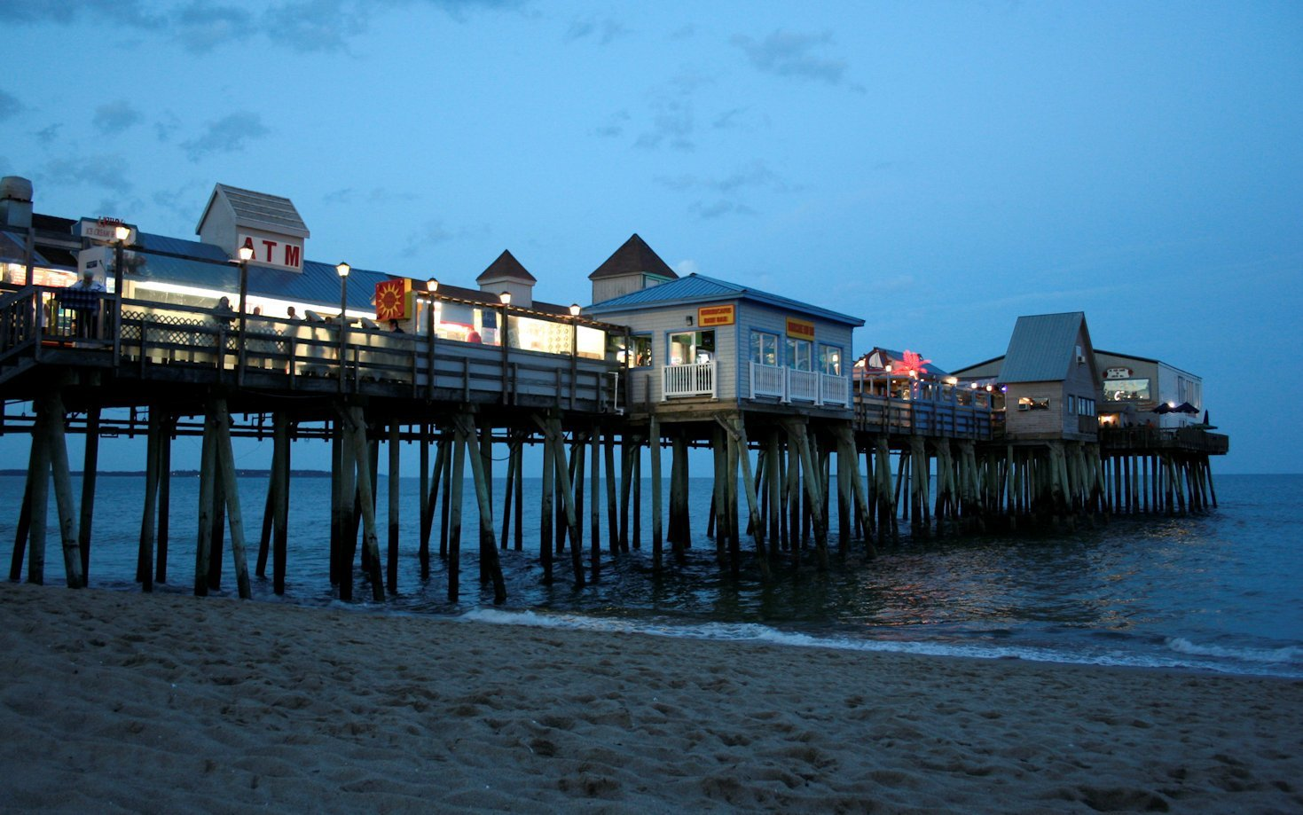 A photo of Old Orchard Beach's Pier at dusk.