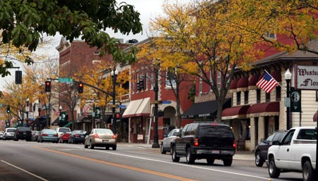 A photo of downtown Westerville. Westerville is a northeastern suburb of Columbus. The population was 36,120 at the 2010 census.Westerville was once known as