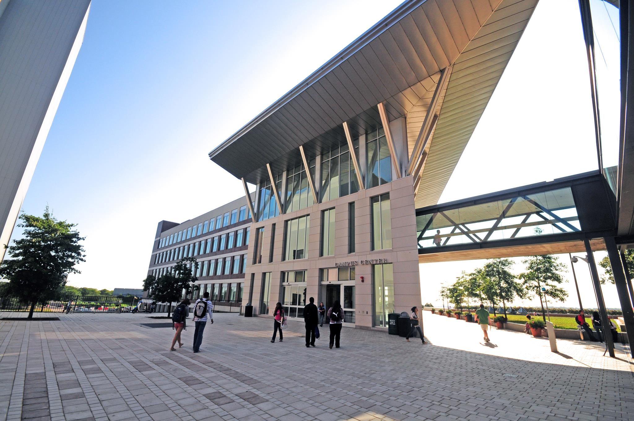Photo of main building at UMass Boston