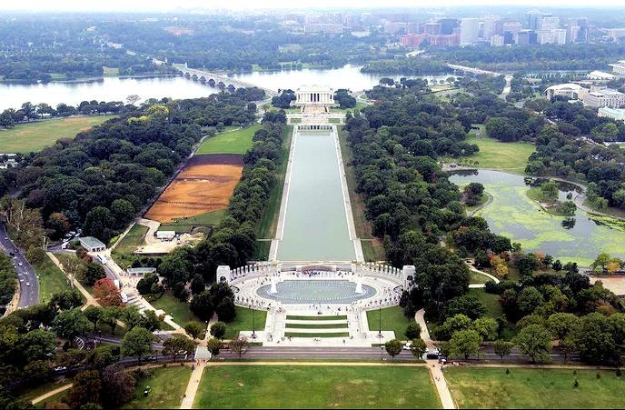 Areal photo of D.C.'s National Mall; The landscape portrait,