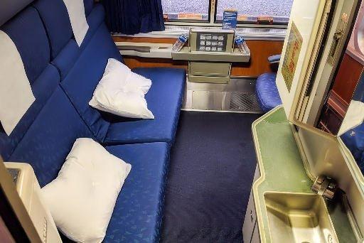 Interior photo of Amtrak Superliner Roomette