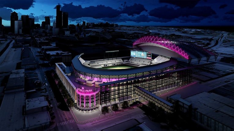 A nightime aerial photo of beautiful T Mobile Park in Seattle, Washington.